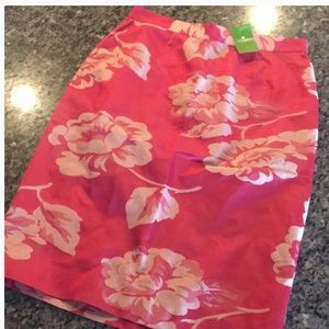 kate spade pink floral silk skirt size 8 nwt